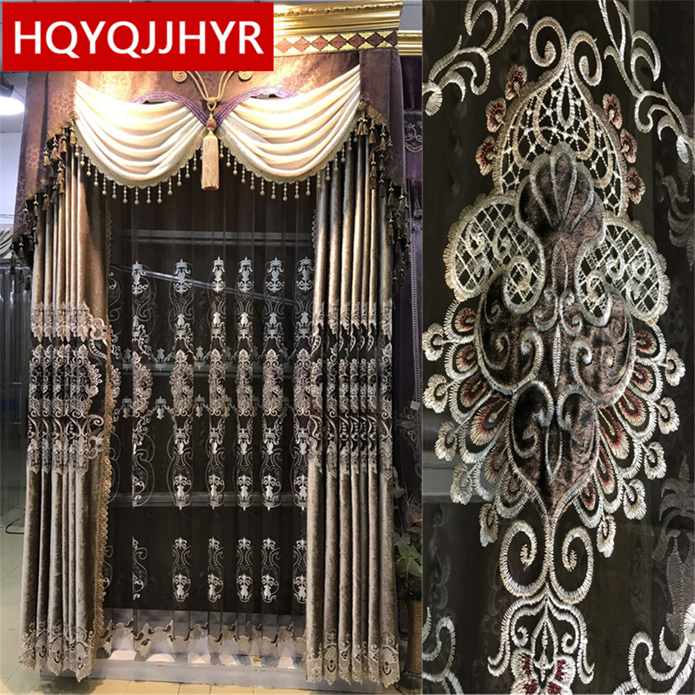 European Luxury Brown Velvet Embroidery Curtains For Living Room Windows Royal High-end Custom Curtains For Bedroom/ Kitchen