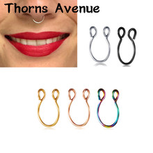 New Fashion Sliver Gold Color U Shape Hoop Nose Rings Piercing Titanium Stainless Steel Fake Nose Ring For Women Men Jewelry(China)