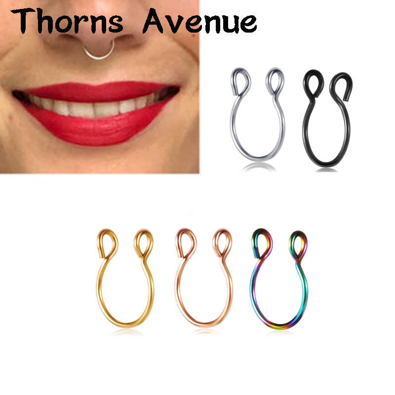 New Fashion Sliver Gold Color U Shape Hoop Nose Rings Piercing Titanium Stainless Steel Fake Nose Ring For Women Men Jewelry