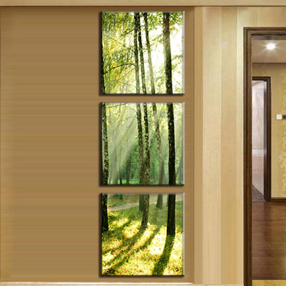 3 Pcs/Set Modern Canvas Wall Paintings Sunshine on The Trees Canvas ...