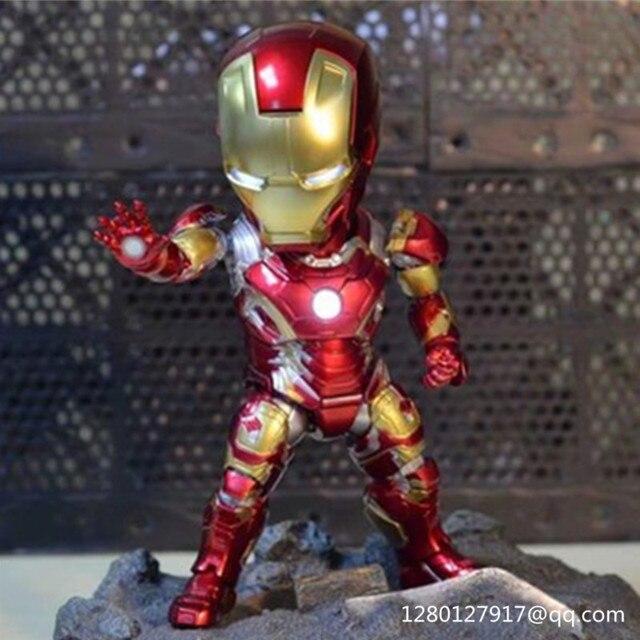 Infinito Guerra OVO de Super-heróis vingadores Homem De Ferro Tony Stark MK43 Com Luz LED PVC Action Figure Collectible Modelo Toy 18 CM Caixa P27