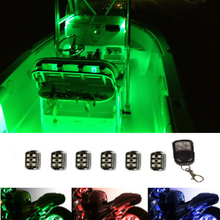 6Pc RGB LED Boat Deck Waterproof Pontoon Marine Yacht Neon Lighting Pod Kit Motorcycle Underglow Neon LED Pod Accent Lights