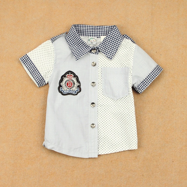 Handsome shirt polka dot patchwork plaid turn-down collar summer boys clothing thin 100% T-shirt short-sleeve cotton shirt