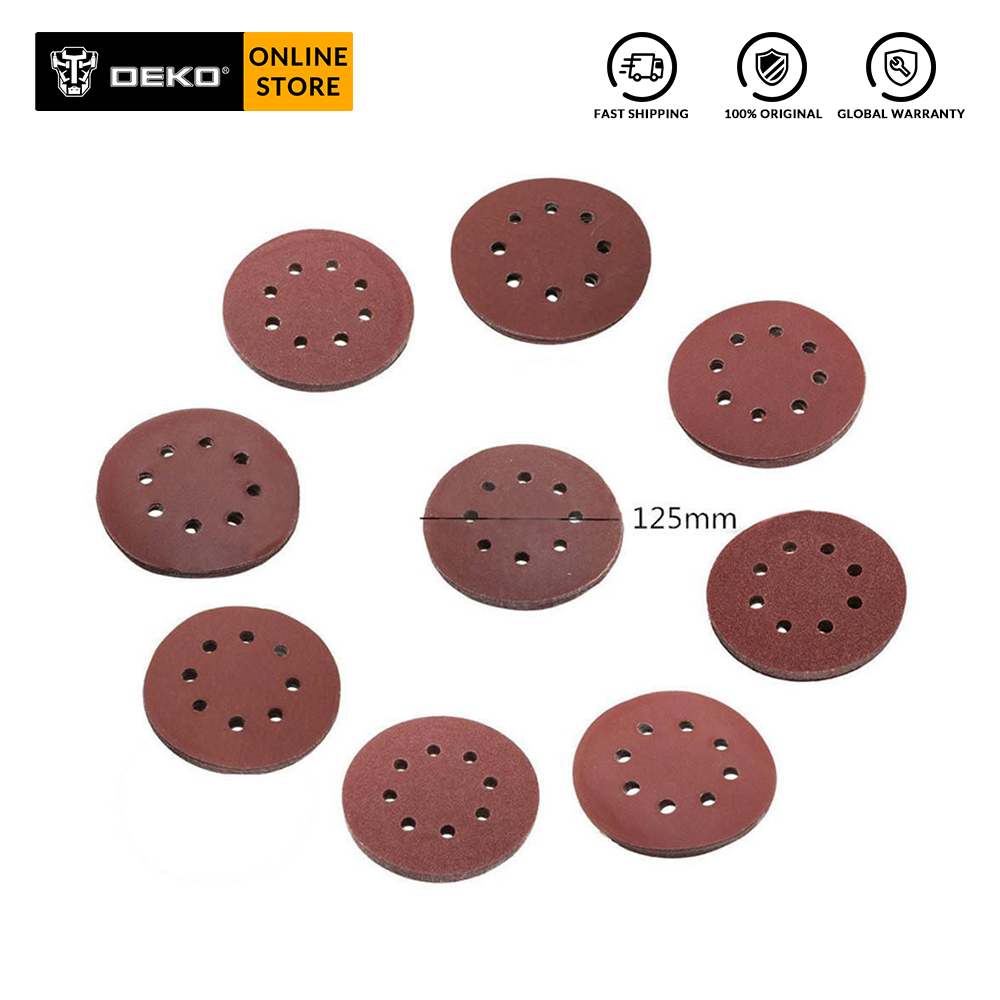 DEKO 125mm Dry Grinding Sandpaper 60#-1000# Brushed 12 Sheets Alumina Oxide Sandpaper For Metalworking 20 Pieces/ Lot