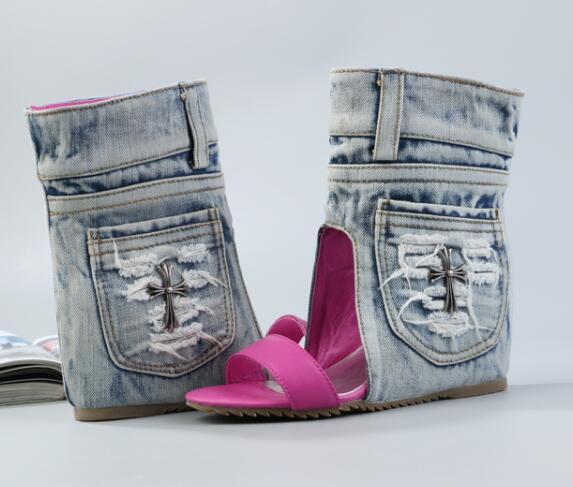 Chaussures Ouvert Pic Wedge Jeans Slip Denim as Tailles Femmes Pic Sur Été Plates Sexy As Bout 35 Des 40 Décontracté À Sandales ZwtAWqC