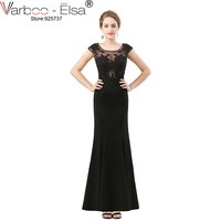 VARBOO ELSA Black Lace Appliques Evening Dress 2018 Europe Style Long Mermaid Prom Dress Robe De