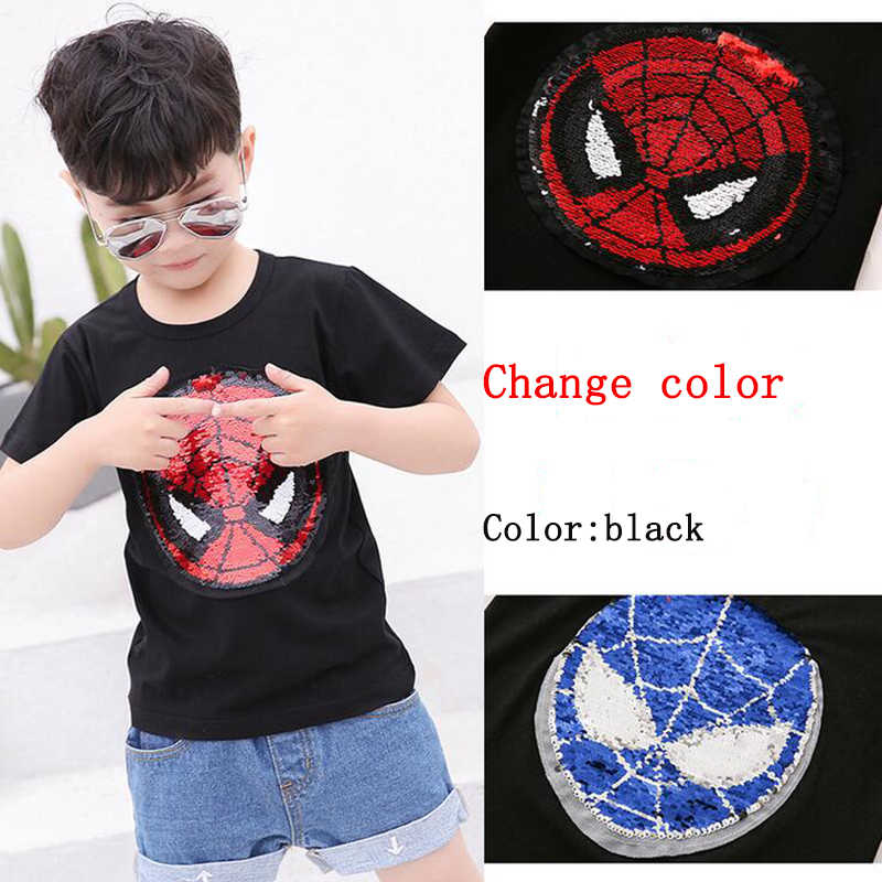 17c5a8a192a01 Kawaii Change color Sequins Discoloration Spiderman Captain America Cotton  Summer Tshirts for Children girl boys