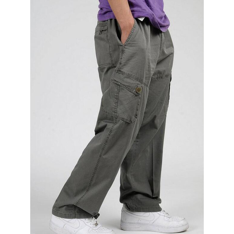 New Spring Autumn Men Cargo Pants Pure Cotton Loose Trousers Mens Pants Size XL- 6XL
