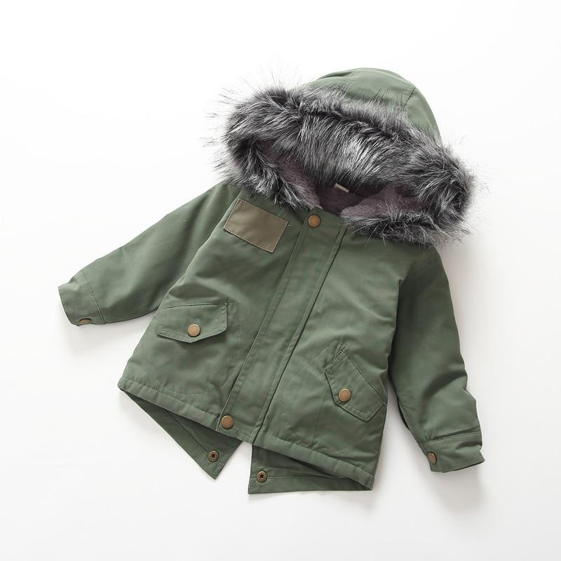 2017 New Fashion Winter Kids Baby Unisex Green Tops Windbreaker Jacket Coat Cotton Outwear With Big Hair Collar Warm jacket