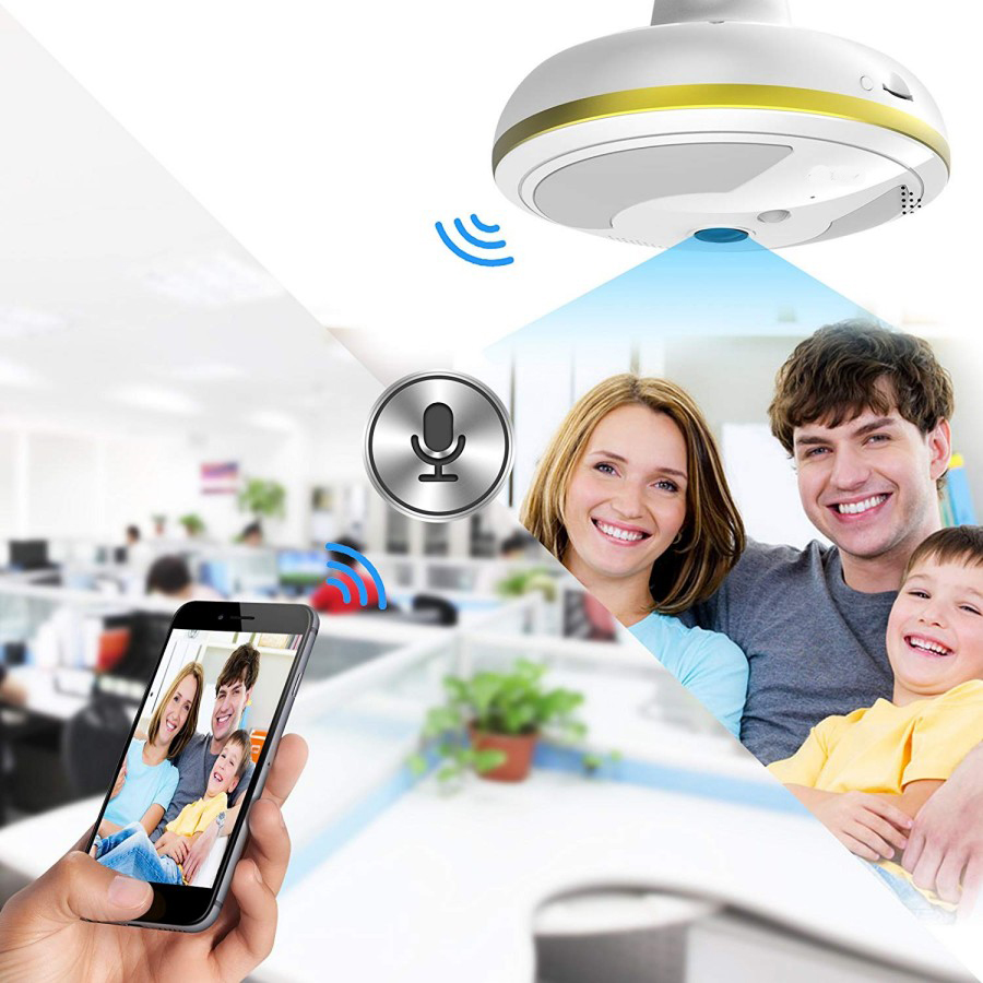 Wireless WiFi Security Camera Light Bulb Home Security System 360 Degree with Motion DetectionNight Vision for IOS Android APP_3