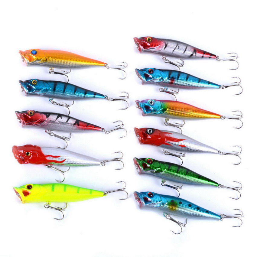 11pcs/set 9.5cm/12g Lifelike Fishing Lure Hook Pesca Fish Popper Lures Wobbler Isca Artificial Hard Bait Swimbait Popper Fishing 1pcs fishing lures 3d luminous night fishing minnow lure isca artificial wobbler bait hard bait lure hook tackle fish lure