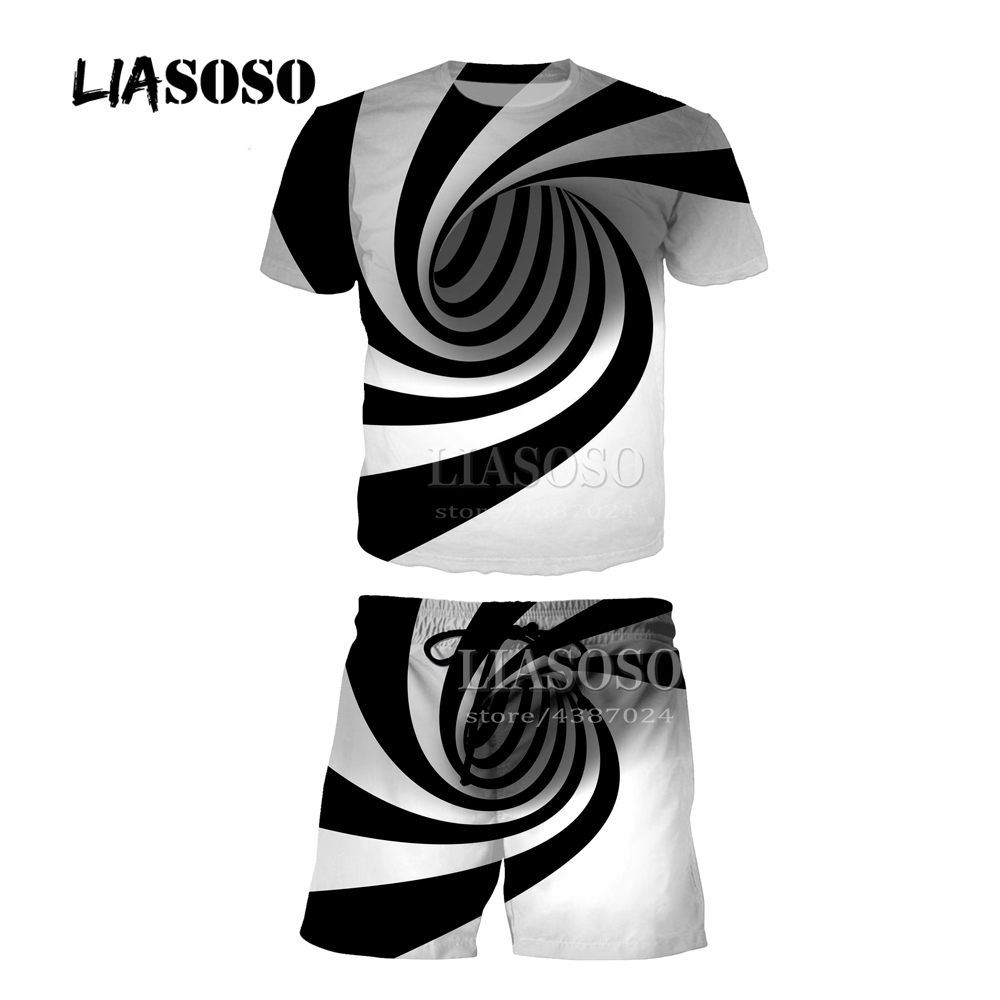 LIASOSO Men Women Tracksuit Set Short Sleeve T shirt+Pants Casual Two Piece Sets 3D Print Creative Vortex Tee Shirt Homme Y315