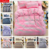 Pink Stripe Duvet Cover 3/4 pcs Bedding Set Single Twin Full Double Queen King Size Quilt Comforter Case Soft Cotton Bed Linens