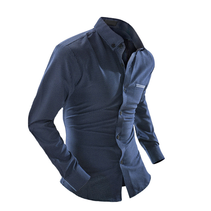 NEW 2019 Fashion Spring autumn Casual business long sleeve Slim Diamond lattice blue gentleman camisa social masculina in Dress Shirts from Men 39 s Clothing
