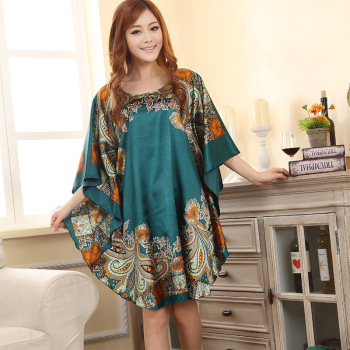 FZSLCYIYI Hot Sale Summer Fashion Lady Robe Chinese Women's Rayon Bath Gown Yukata Nightgown Novelty Print Night Dress 1