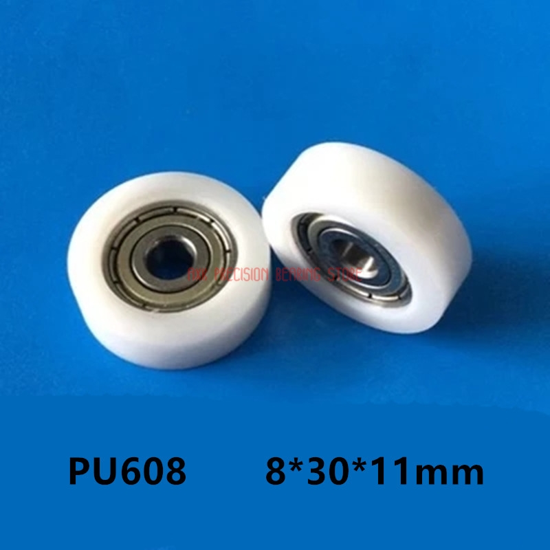 10 Pcs 608 Nylon Plastic Embedded 608 Groove Ball Bearings 8*30*11mm Guide Pulley