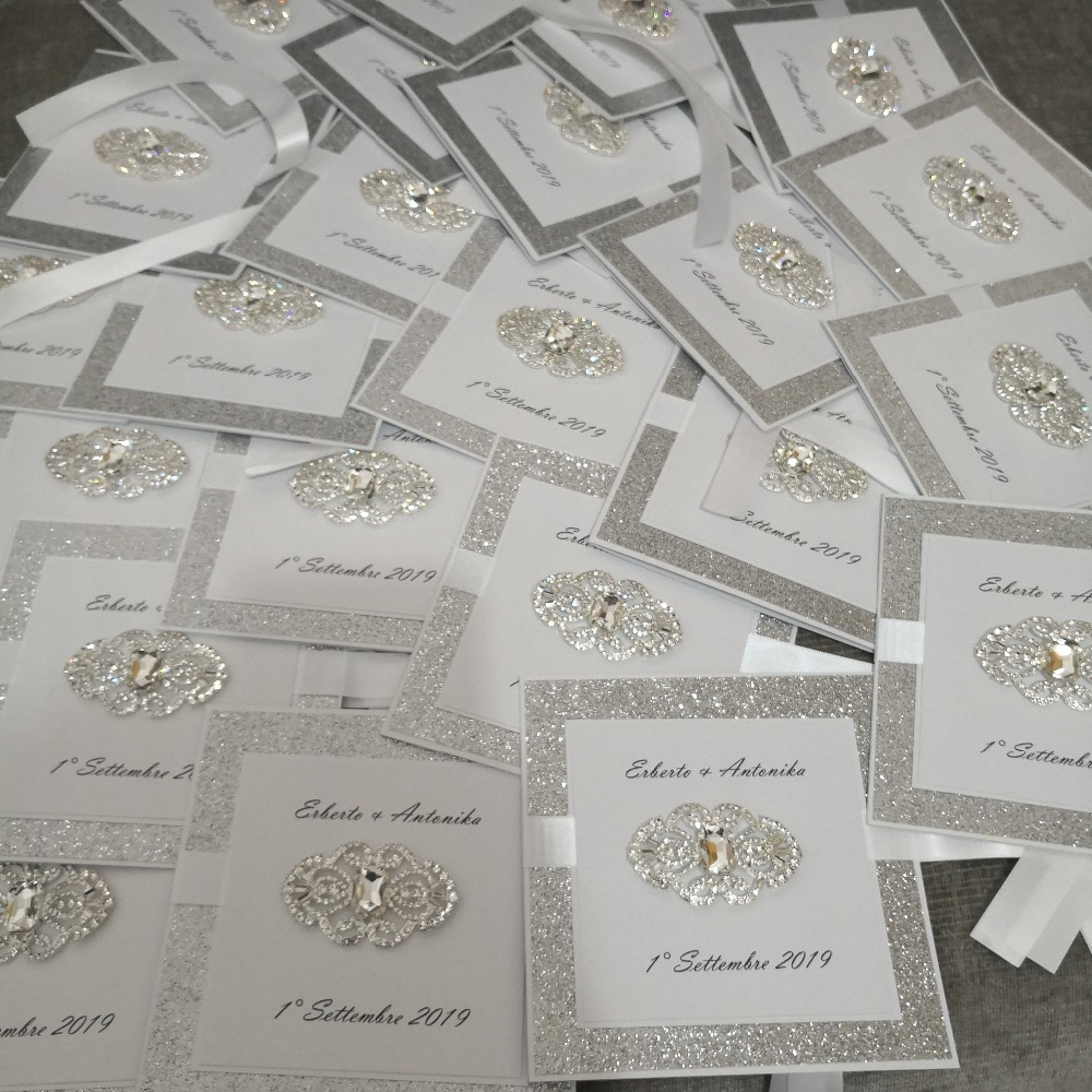 30pcs set free envelop and free seal gorgeous hand made with fancy brooch glitter layer invitation
