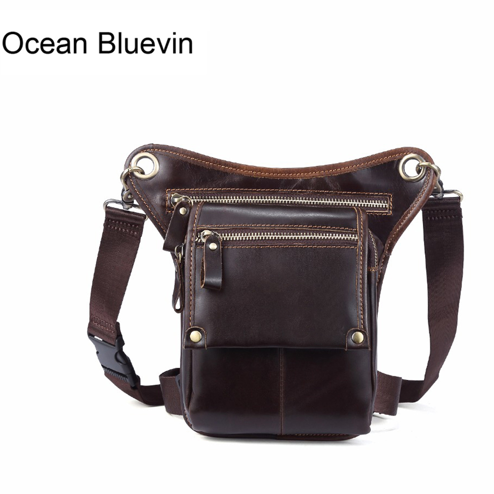 OCEAN BLUEVIN Genuine Leather Shoulder Bags for Men Vintage Cowhide Waist Bag Messenger Bag Men Leather Crossbody Hasp Belt bag
