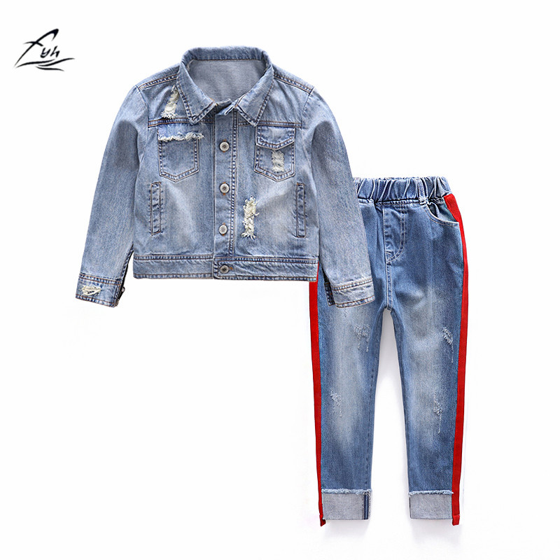 FYH Boys Clothing Autumn Spring School Kids Long Sleeve Denim Jacket+Jeans 2pcs Suit Set Teen Boys Casual Cowboy Clothing Sets