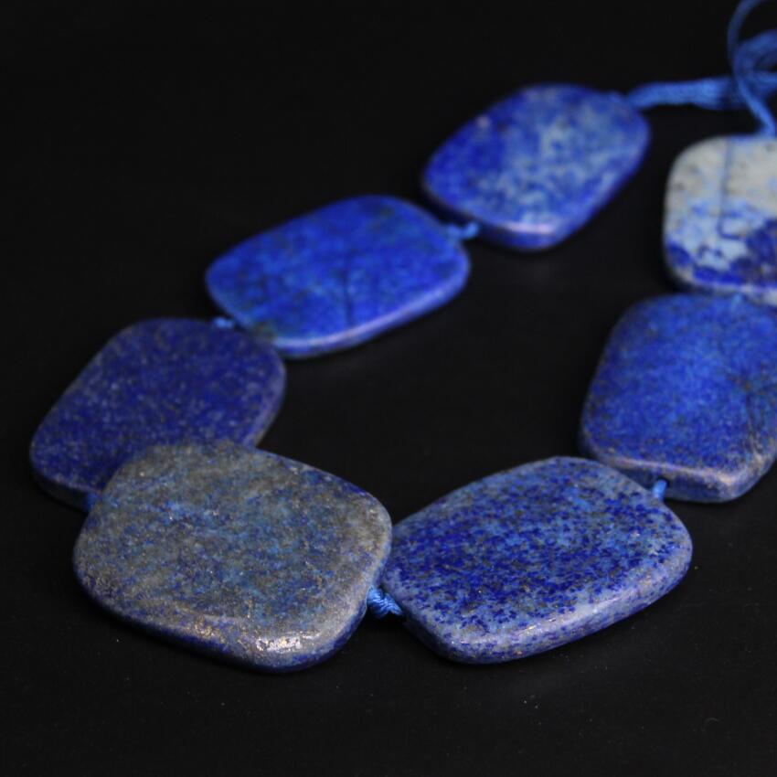 New!!! 7PCS/strand Large Size Lapis lazuli Raw Slab Nugget Loose Beads,Natural Blue Stone Gems Slice Pendants Craft Jewelry