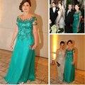 Menta Verde Longo Mãe do vintage Dos Vestidos de Noiva Com Mangas Curtas 2017 Mãe do noivo Appliqued Frisado Chiffon Plus Size