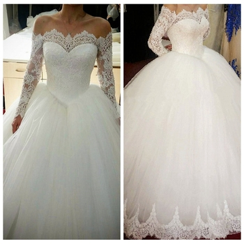 Empire Lace Appliques Bateau Long Sleeves Wedding Dresses 2019 A-Line Bridal Gowns Formal Long Vestidos De Mariee Spring Garden