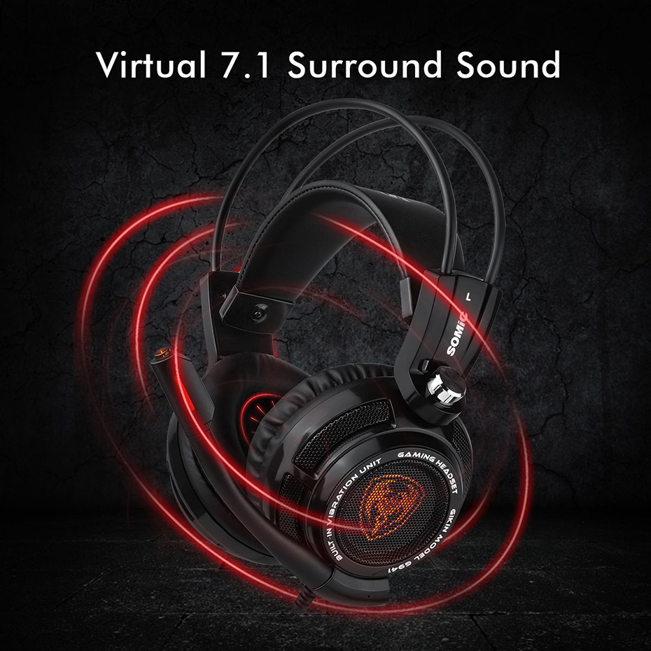 51e662f020c Somic G941 USB 7.1 Virtual Surround Sound Gaming Headset Headphones with  Microphone Stereo Bass Vibration for PC PS4 Gamer