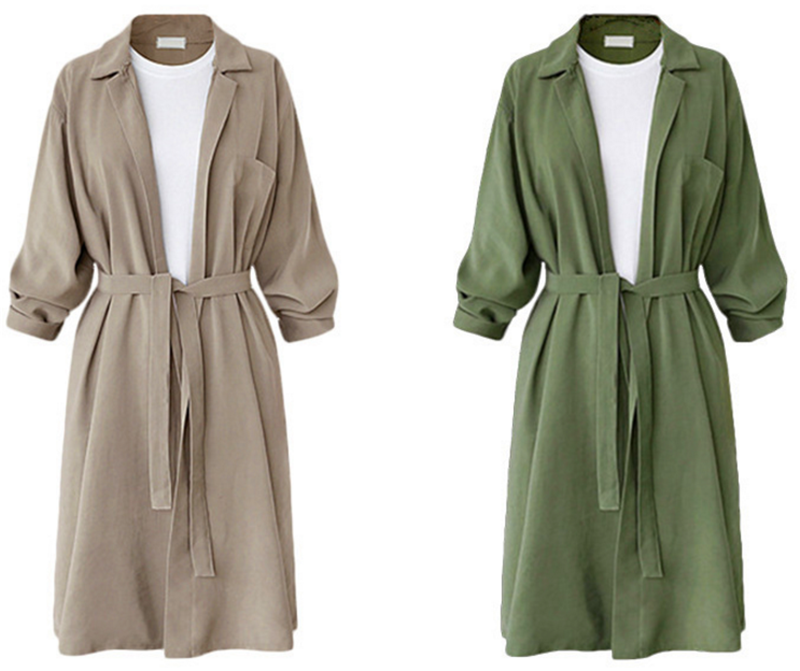 Autumn Loose Casual Turn-down Collar Full Sleeve Cwide-waisted Solid Large Size Windbreaker Women Wear Overcoat   Trench   Coats