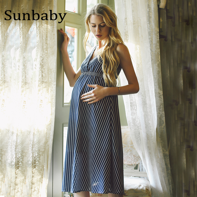 2017 Summer Fashion maternity clothes blue striped chiffon pregnancy dress photography clothes for pregnant women 2016 summer new maternity clothes for the pregnant women 100% cotton fashion maternity dress doll dress big size gravida clothes