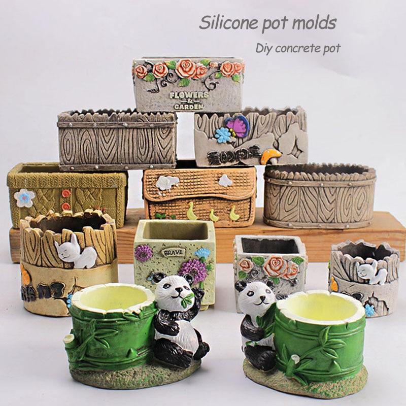 Concrete Pot Molds Flower Tray Molds Panda Shaped Flower Pot Molds Cement Vase Molds