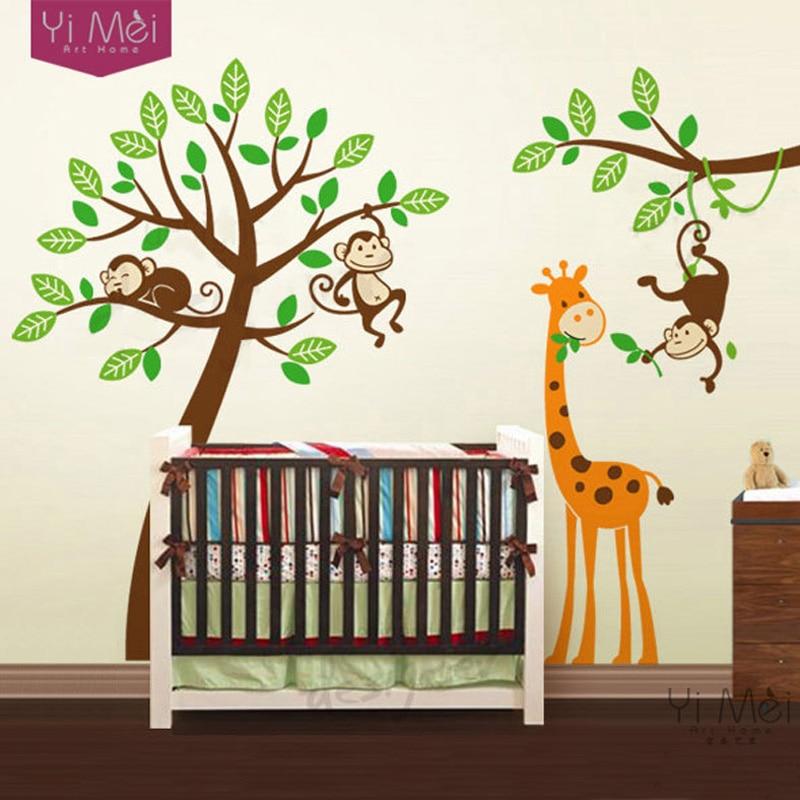 arbre de bande dessine papier peint stickers zoo singe girafe wall sticker nursery enfants chambre de bb chambre salle de jeux 200250 cm dcoration de