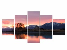 5 Pieces Free Shipping Printed  landscape picture large canvas painting for bedroom home wall art decor
