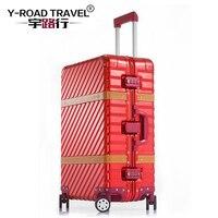 20''24''28'' алюминиевый сплав магния чемодан Для женщин из металла неотъемлемой формирования чемодан Для мужчин высокого класса TSA Spinner багаж Но