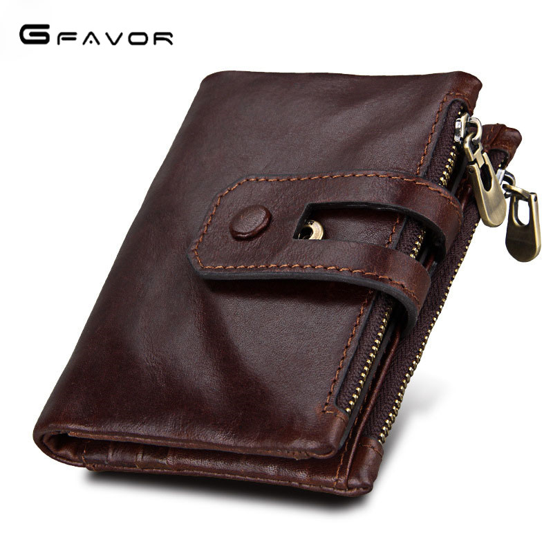 G-FAVOR Genuine Leather Men Wallets Coin Purse Small Male Wallet Portomonee PORTFOLIO Hasp Zipper Money Bag Card Holder Perse