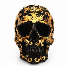 3D Black Skull Head Golden Carving Resin Craft Halloween Party Man Geeks Gift Skull Sculpture Ornaments Home Table Decoration(China)