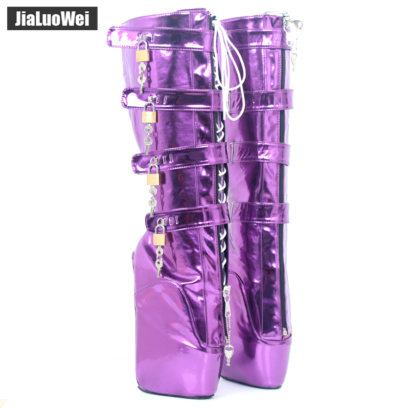 jialuowei Extreme High Heel Wedges Ballet Boots Lace-up Lockable Zip Buckle Sexy Fetish Knee-High Shiny Metallic Purple Boots jialuowei brand 18cm extreme high heel fetish sexy wedges lace up buckle heelless ballet boots unisex lockable knee high boots