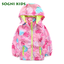 2017 New Autumn Baby Coat And Jacket For Girl Leisure Fruit Print Hooded Windbreaker For Girls Long Sleeve Toddler Outerwear