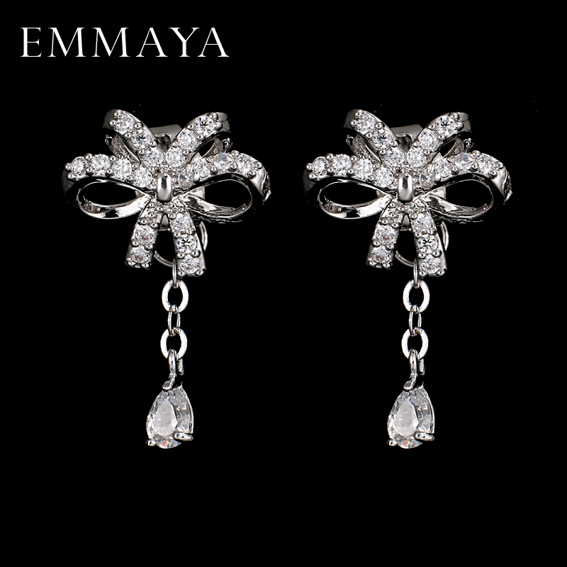 Us 5 78 35 Off Emmaya Top Quality Bowknot Aaa Cz Earrings White Gold Color Fashion Jewelry For Party In Drop From