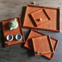 Japanese pure handmade rattan bamboo cup tea tray European rectangular saucer fruit dish plate household wooden pallet tableware