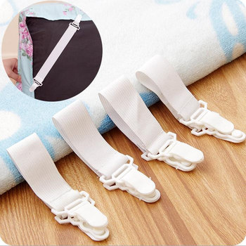 White Bed Sheet Mattress Cover Blankets Grippers Clip Holder Fasteners Elastic Set F20173994