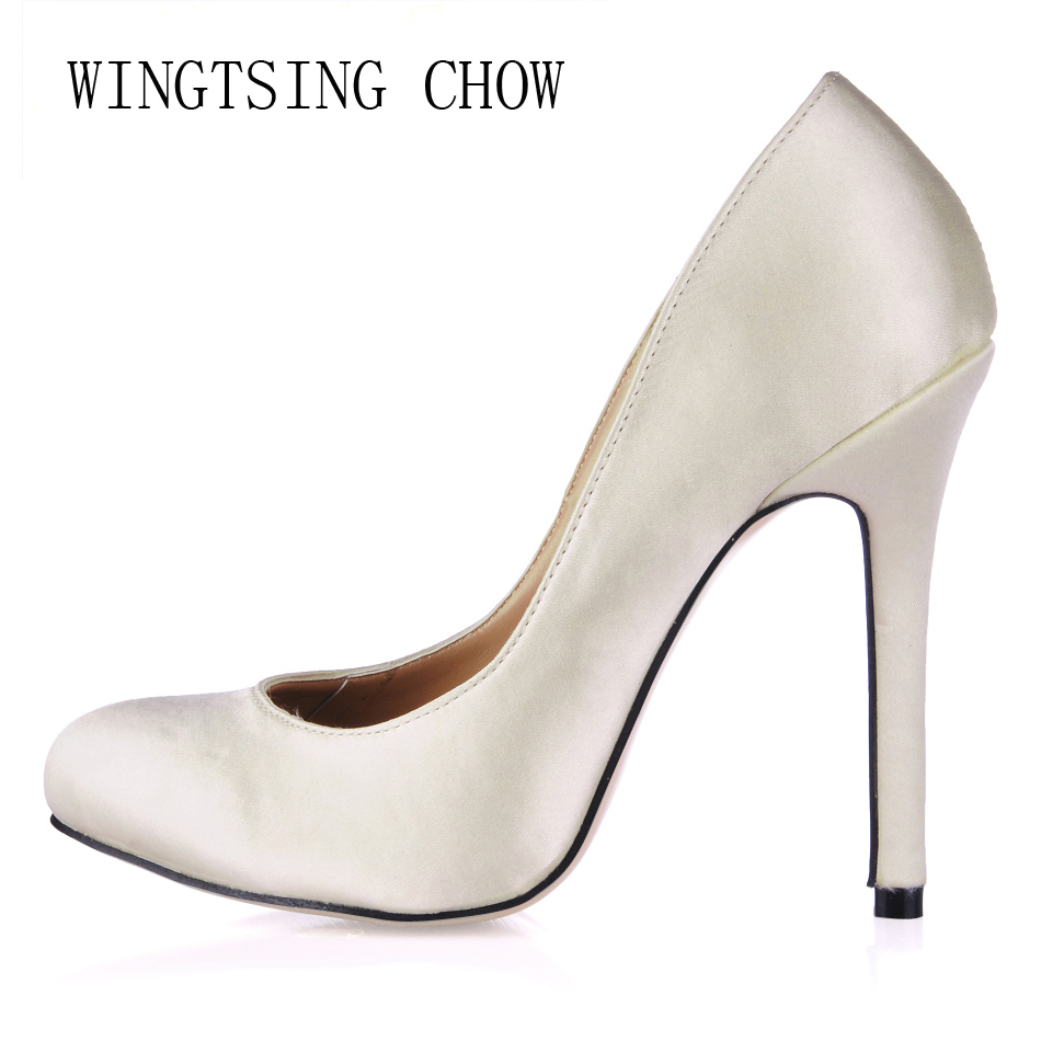 2016 New Ivory Satin Sexy Wedding Bridal Party Shoes Women Round Toe Stiletto High Heels Ball Ladies Pump Zapatos Mujer 0640C-a7 free shipping ep2107 ivory women s open toe stiletto high heel satin flowers pearls bridal wedding sandals