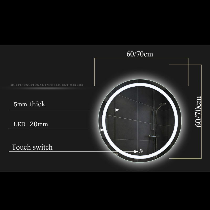 Bathroom wall LED light mirror round wall hanging washroom toilet makeup mirror touch switch White warm light mx12151606 3