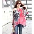 Bohemio de La Gasa Floral T Shirt Dolman Batwing Manga Loose Off hombro Top Plus Size T-shirt Femme Poleras de mujer 5