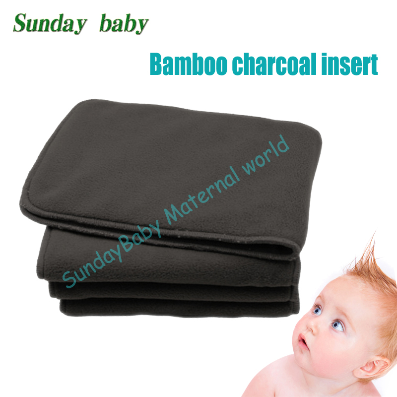 5 pcs bamboo charcoal insert baby cloth diaper insert washable and eco friendly bamboo insert