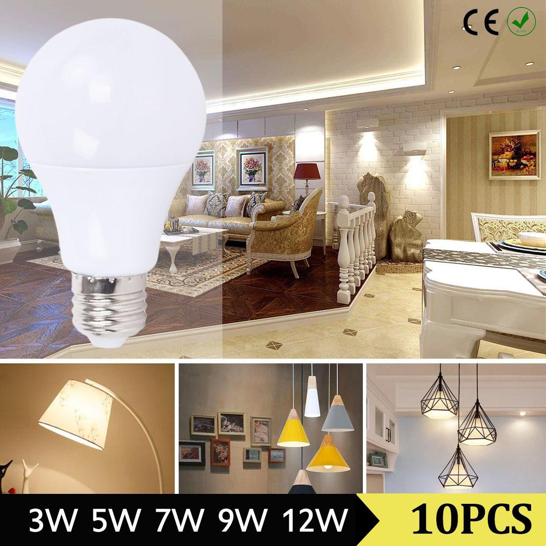 10pcs LED Bulb Lamps 3W 5W 7W 9W 12W E27 Light Bulb Smart IC Real Power High Brightness Lampada LED Bombillas