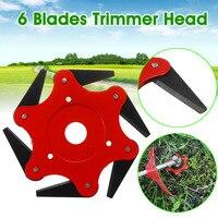 MEIGAR 6 Steel Red teeth Brush Cutter Blades Trimmer Metal Blades Trimmer Head Lawn Mower Sharpener Heads Garden Grass Trimmer