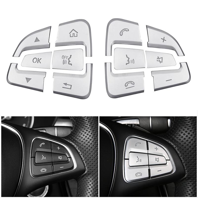 Le bouton de volant de Chrome d'abs de style de voiture couvre des autocollants de garniture pour Mercedes Benz A B C GLC CLA CLS GLE GLS GLK classe