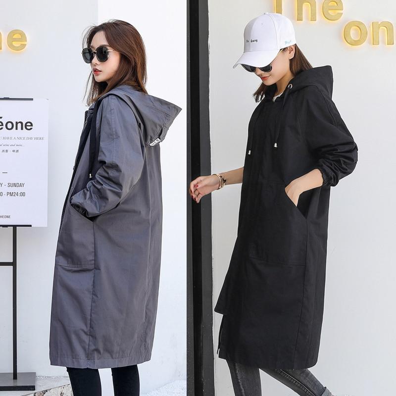 À Longues Tranchée Mince Femmes black Nouveau Femelle 2018 Solide Lâche Manteau Long Manches Occasionnel B917 armygreen Gray Automne Capuchon Outwear Style Rv1R4Zq