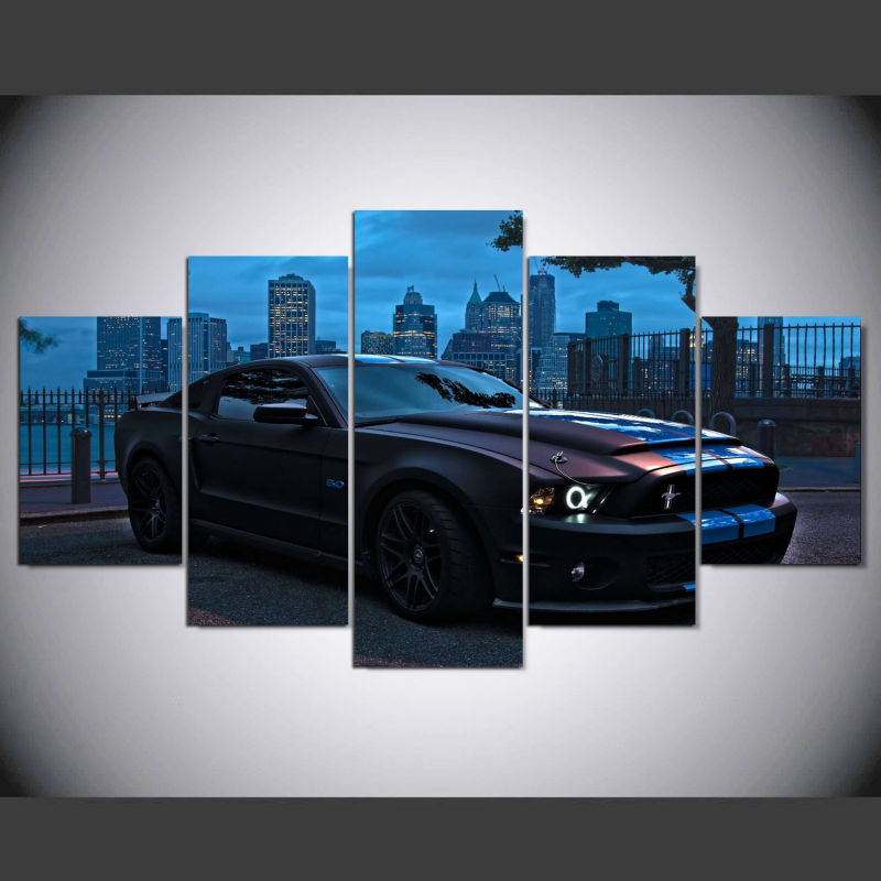 Image Is Loading Ford Mustang Car Picture 5 Piece Canvas Wall