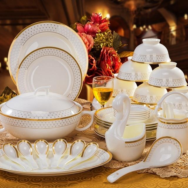Aliexpress Buy Vilo Golden Sicily Patterned Bone China 40 Stunning Patterned Dinnerware Sets